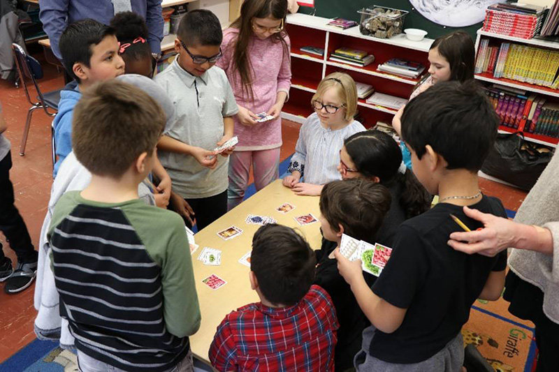 Children at George Washington Elementary School in Kingston do an activity during Agriculture Literacy Week.