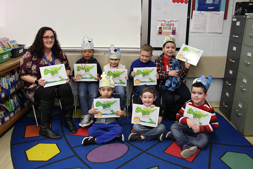 Ms. Porter's class with books.