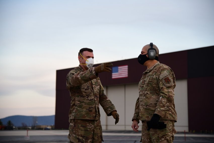 Airmen from the 146th Airlift Wing of the California Air National Guard in Oxnard, CA, deliver 200 ventilators to the New York Air National Guard's 105th Airlift wing on April 7, 2020, at Stewart Air National Guard Base, Newburgh