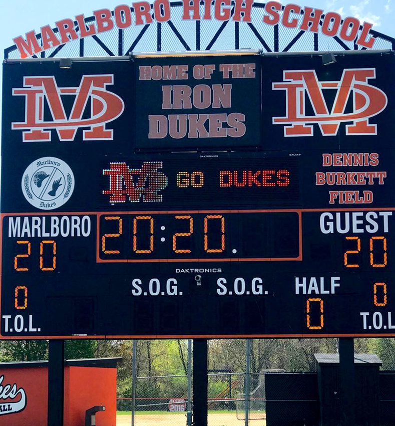 Each Friday evening from now until the end of June, the turf lights on the Marlboro High School  athletic field will be lit from 7 to 8 p.m. in honor of the Class of 2020. Names of the graduating seniors will also appear on the scoreboard.