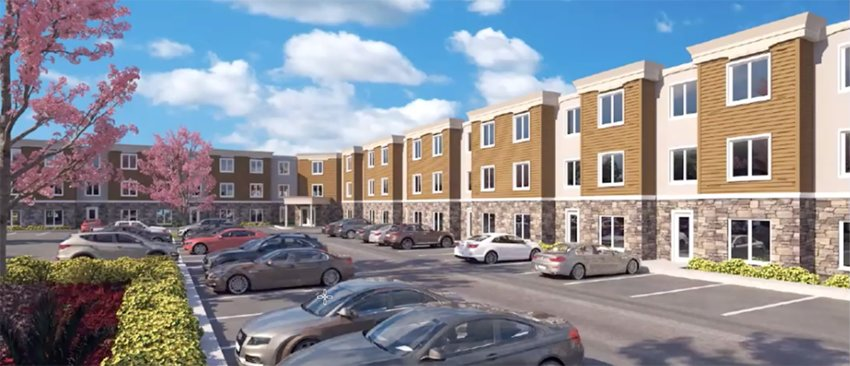 A rendering of Falcon Rest, a proposed senior citizen apartment complex, to be located at 120-126 Montgomery Street in Walden.