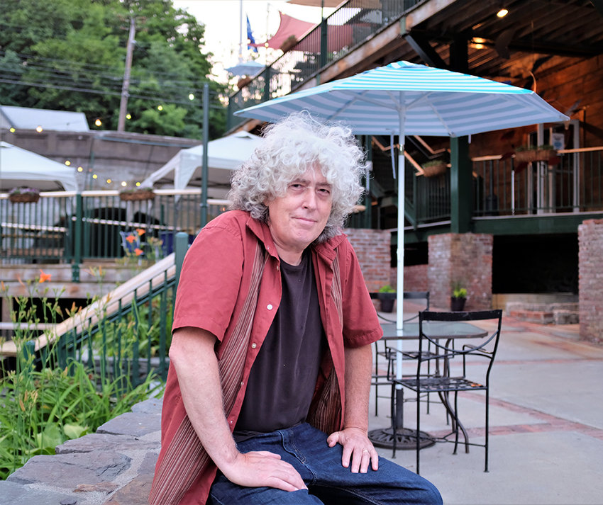 Tony Falco sits outside in the Beer Garden of The Falcon in Marlboro.