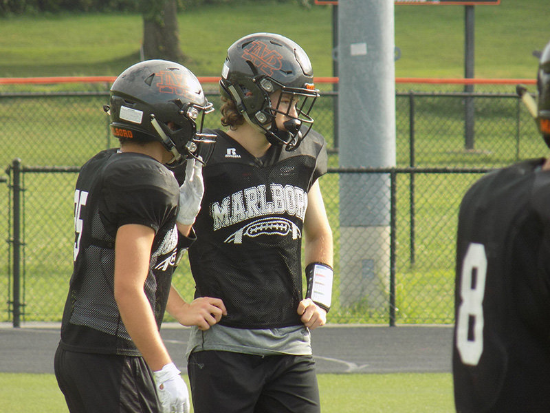 The Marlboro football team practices last August. The NYSPHSAA has recently released guidance regarding summer workouts.