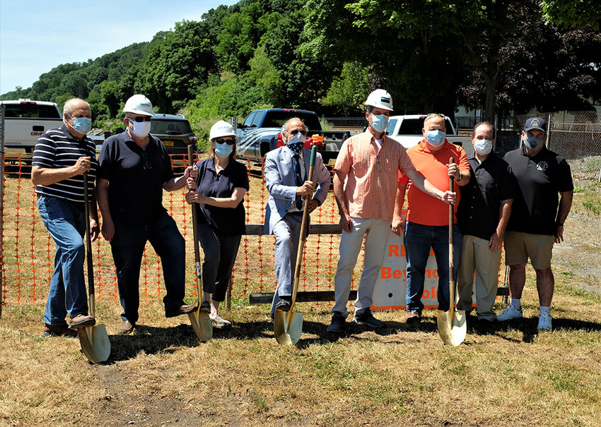 The ceremonial groundbreaking for the pier project was  done by (l-r)  Councilman Howard Baker, Jerry and Rosemary Wein, Supervisor Al Lanzetta, Councilmen Alan Koenig, Ed Molinelli, Scott Corcoran and Ulster County Legislator Tom Corcoran.