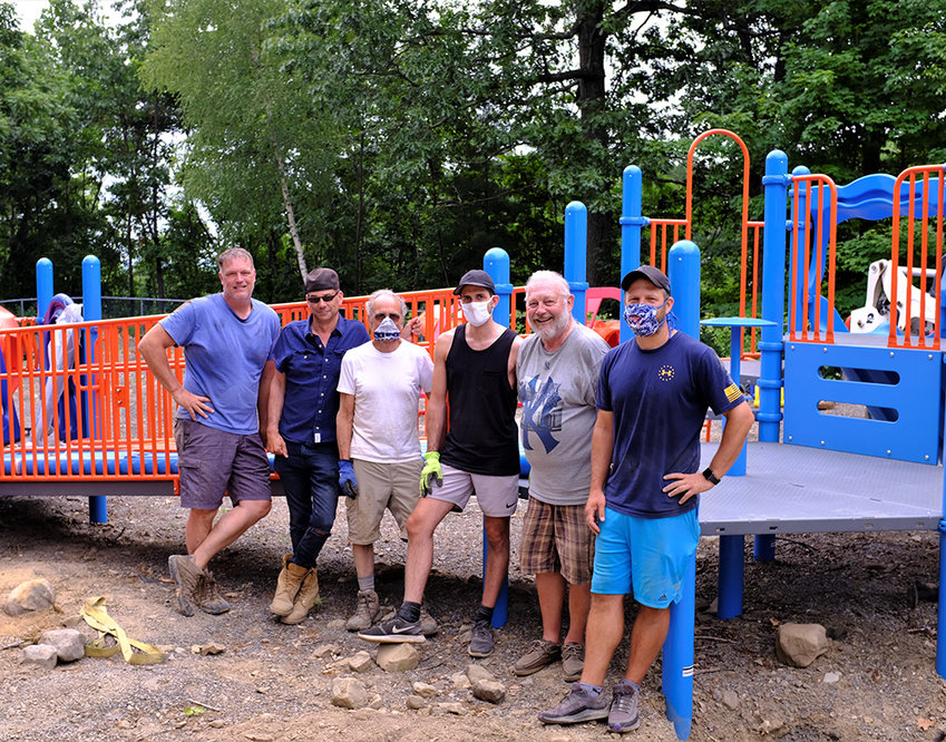 Last weekend a core group assembled to finish the last phase of the playground project at the Cluett Schantz Park in Milton. Pictured L-R Shawn Bolinger, Dave Zambito, Supervisor Al Lanzetta, Philip Lanzetta, Tom Schroeder and Nick Giansinte. Not pictured: Celeste Ricciardone and Leira Patasso.