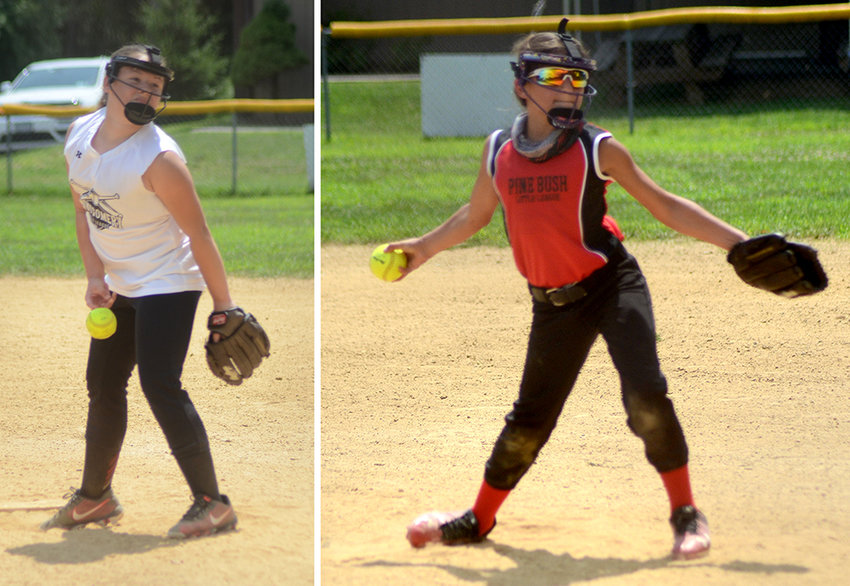 L: Madison Cole pitches for Montgomery during a Little League softball game against the Pine Bush Falcons at Veterans Memorial Park in Montgomery on Saturday. R: Courtney Flynn pitches for Pine Bush Falcons on Saturday..
