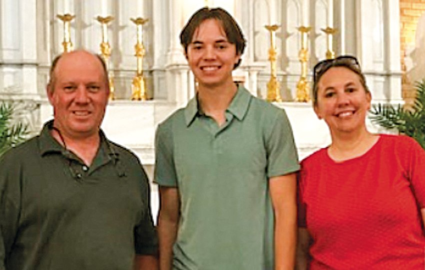 Max Borchert with his parents, Stephen and Alba Borchert.