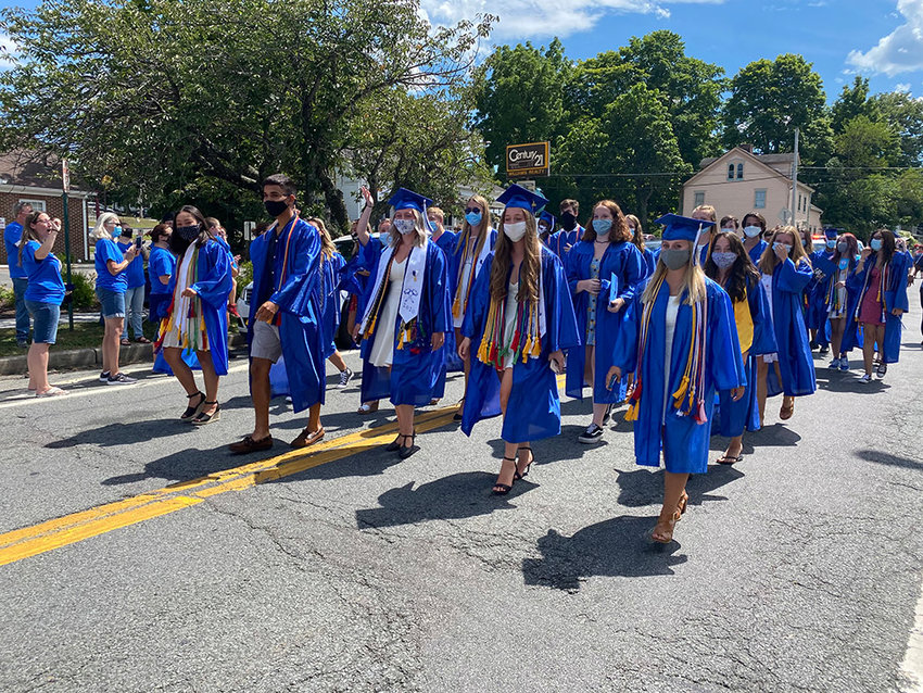 The Valley Central High School Class of 2020 marched down Union Street in the Village of Montgomery on Saturday. This march was in compliance with New York State guidelines that limit in-person graduations to no more than 150 total people.