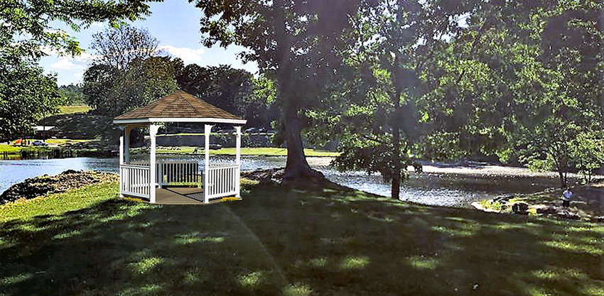 A rendering of the Gazebo that will be built on a bluff overlooking Round Pond.