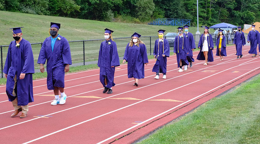 Members of the Class of 2020 marched onto the field to Sir Edward Elgar's Pomp and Circumstance.