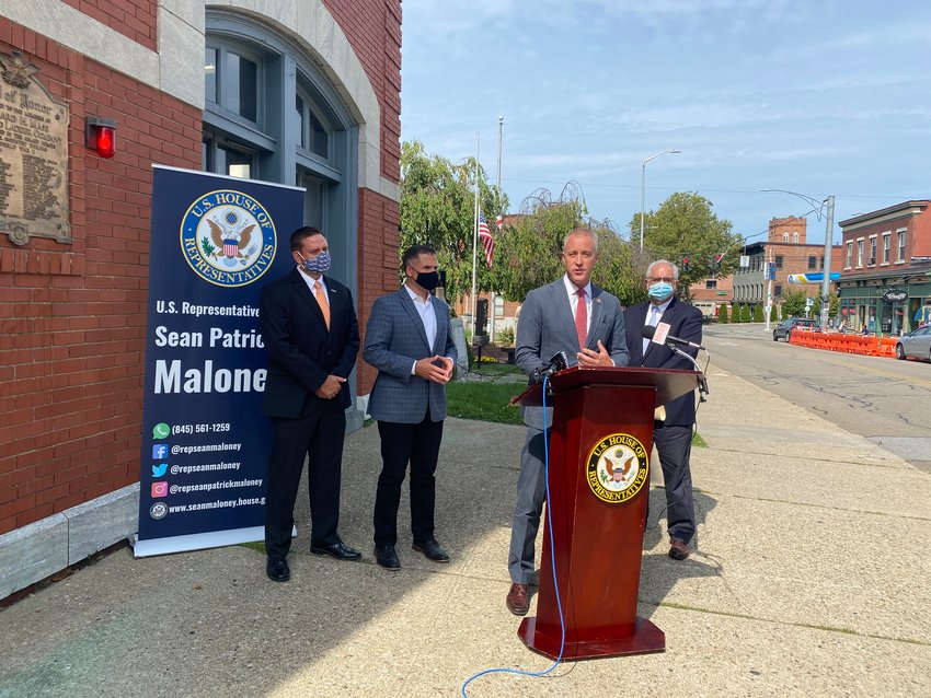Rep. Sean Patrick Maloney speaks at the press conference in Beacon last Wednesday.
