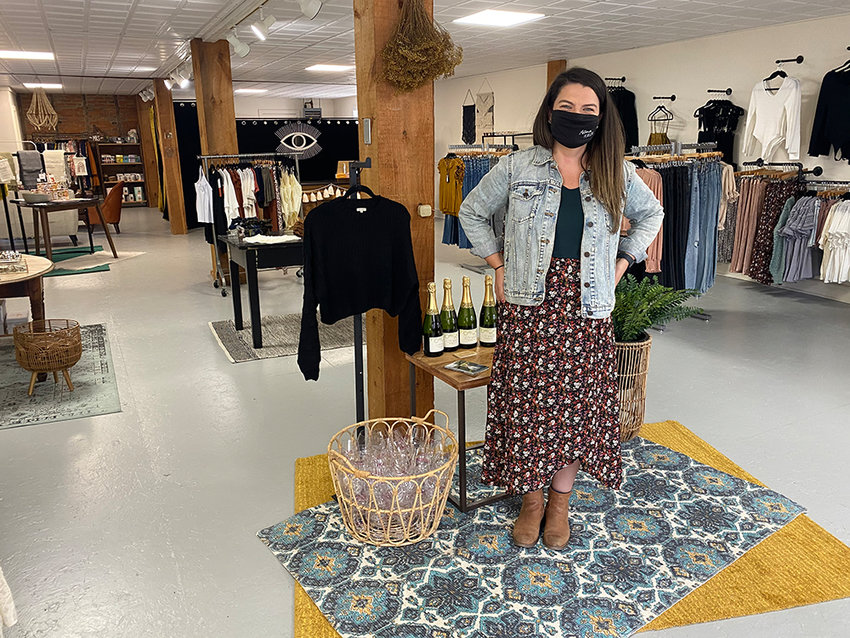 Astoria Hudson owner Kateigh Jamieson stands in her new store location on 84 Clinton Street in the Village of Montgomery.