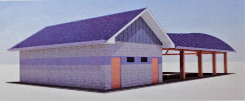 A side view of the proposed  pavilion.
