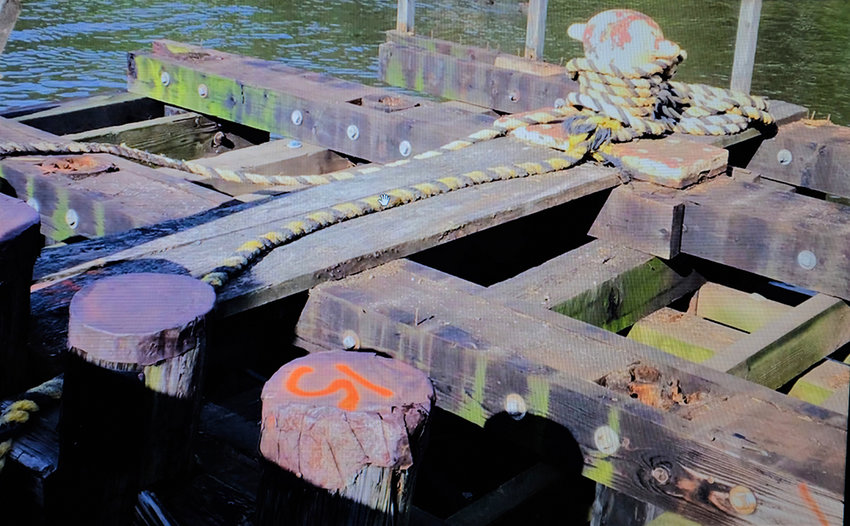 A section of the south pier in Milton that shows the 'head rot' in the pilings.