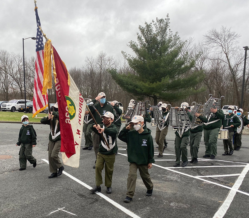 Maybrook Scout Troop 236 marches at the Town of Montgomery Veterans Day ceremony last Wednesday.