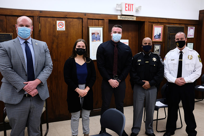Ulster County Sheriff Juan Figueroa informed the Lloyd Town Board on recent changes within law enforcement. [L- R] Urgent Task Force Commander Jared Blades, newly appointed Lloyd Police Officer Kaylee Gannon and Dispatcher Cole Nicolis, Sheriff Figueroa and Lloyd Police Chief James Janso.
