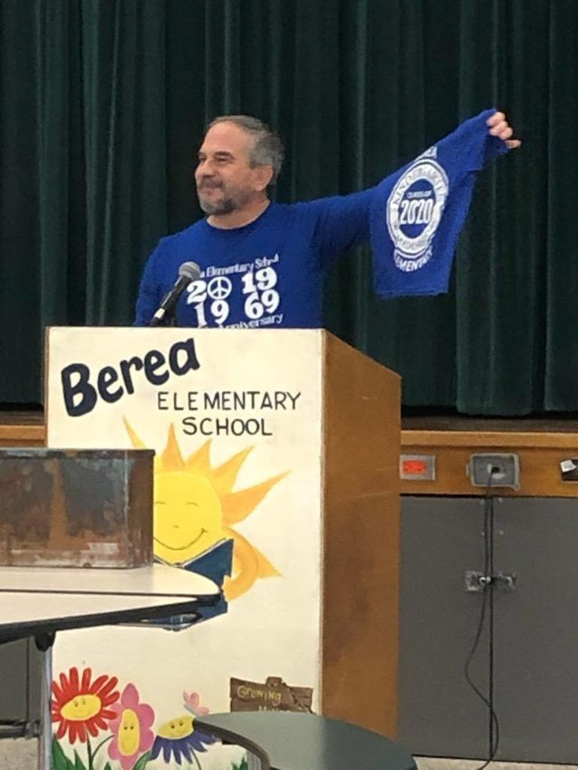 Berea Principal John Solimando displays a t-shirt that was added to the Berea Times Capsule.