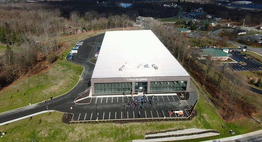 The exterior of Tower Holdings Group's Stewart Logistics Center located at 84 Hawkins Drive in the Town of Montgomery.