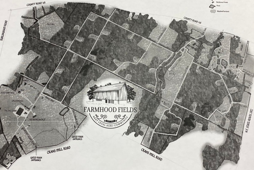 The site plan for Farmhood Fields, a proposed farm-to-table living community.