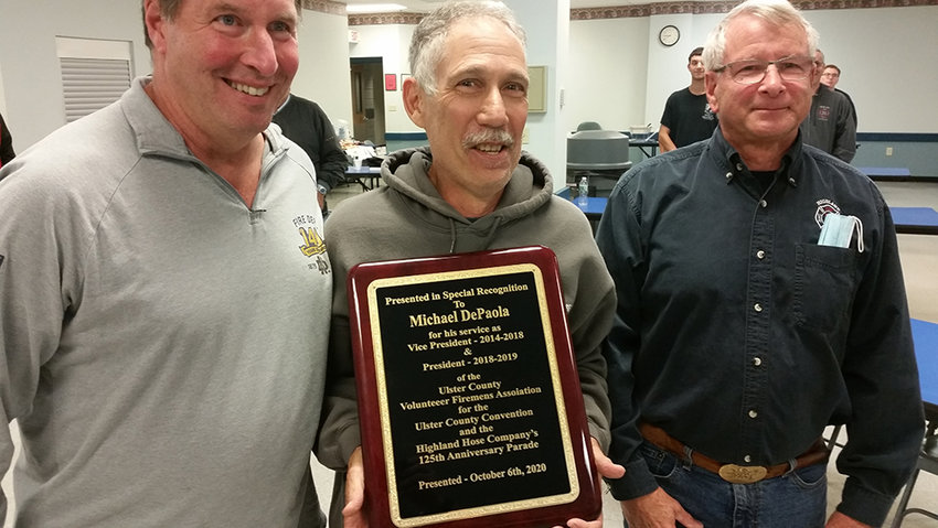 Michael DePaola was honored for his service as Vice President 2014-2018 and President 2018-2109 of the Ulster County Volunteer Firemens Association for the 84th Ulster County Convention and the Highland Hose Company's 125th Anniversary Parade.