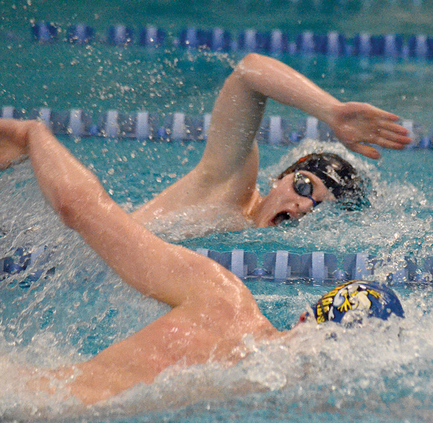 Valley Central's Sean Zupko races Washingtonville's Andrew Smolar in the 500-yard freestyle during the Section 9 boys' swimming championship meet at Valley Central High School in Montgomery on Feb. 22, 2020.