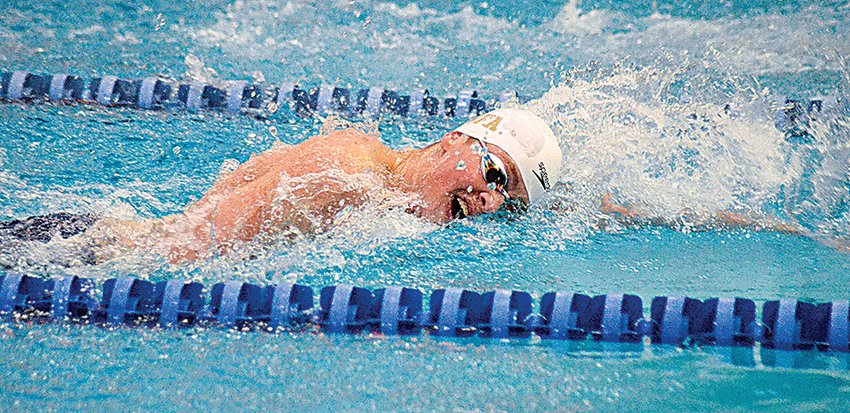 Newburgh's Luka Samsonov swims the 200-yard freestyle during the Section 9 boys' swimming championship meet at Valley Central High School in Montgomery on Feb. 22, 2020. Area swim teams began practicing on Tuesday.