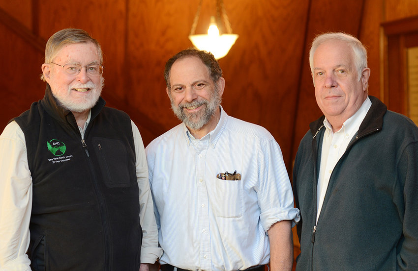 Left to right: John Reilly, professor of History; Thomas Sarro, professor of Biology; and William Lahar, professor of Chemistry, have spent 45 years at the Mount. They are seen here in a file photo.