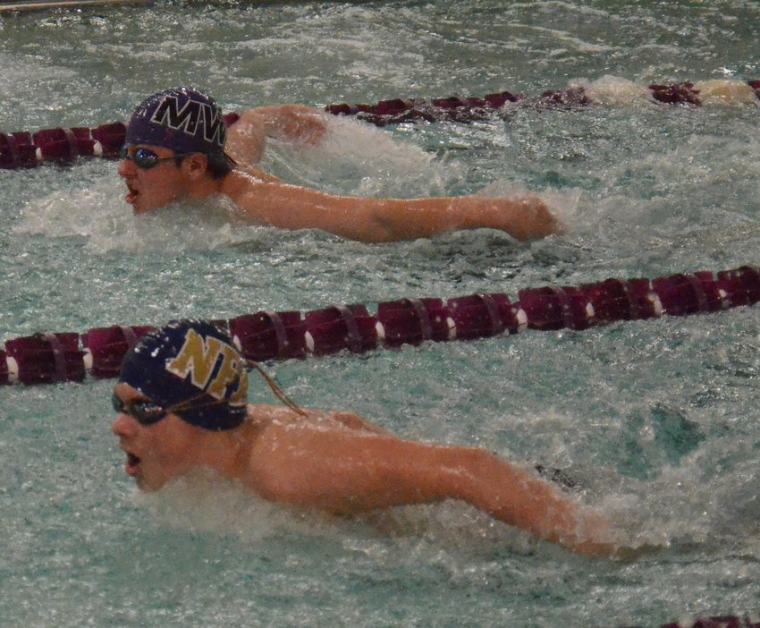 Newburgh's Leo Betcher swims in the 100-yard butterfly at an OCIAA swim meet at Monroe-Woodbury Middle School on Dec. 12, 2019.