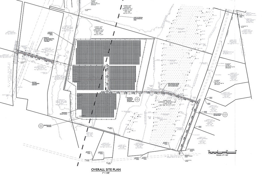 A preliminary site plan for Magruder Solar LLC's proposed solar energy system at 643 Plains Road, Wallkill.