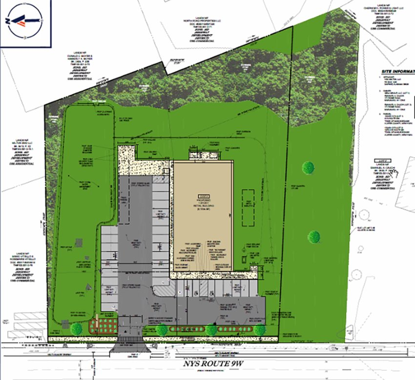 Site plan map for the proposed Dollar General  in the Town of Marlborough.