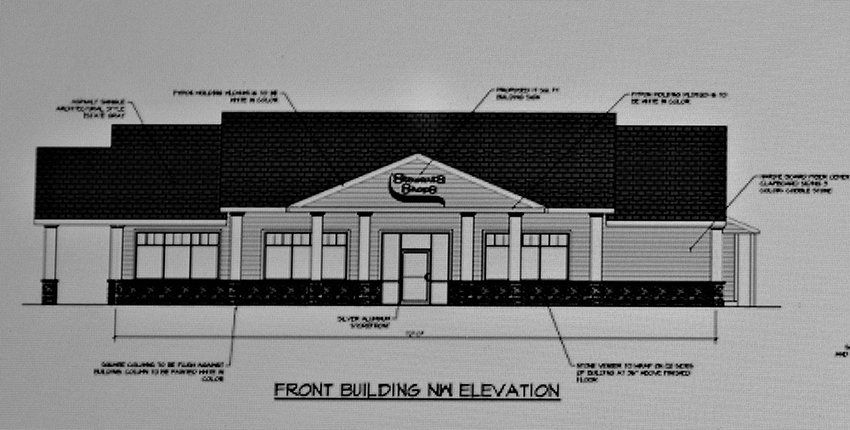 A rendering of the main building for a newly proposed Stewart's Shop at the corner of Route 9W and Chapel Hill Road .