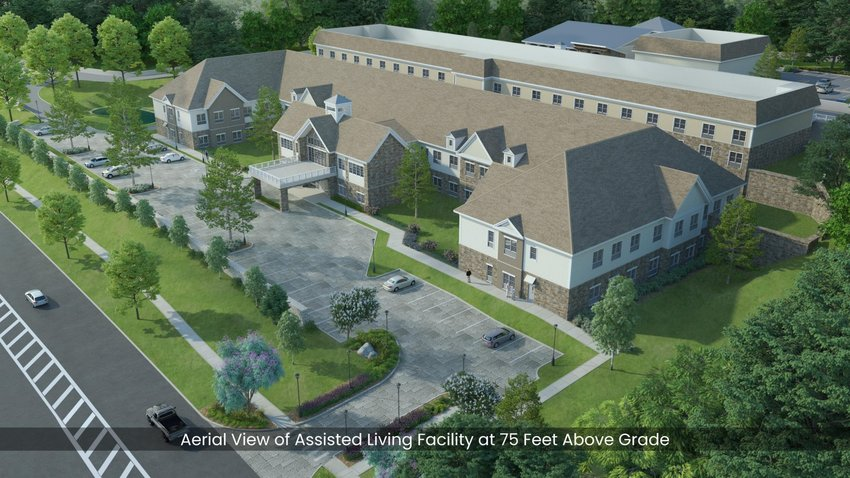 An aerial view of the proposed Assisted Living facility on Route 9W in Lloyd.