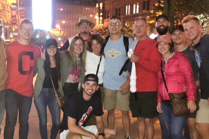 The Karinchak family outside of Cleveland's Progressive Field for a 2019 game.