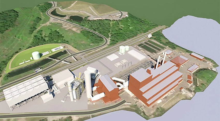 A rendering of the proposed natural gas Danskammer Power Plant (in white) is pictured next to the old 1950s coal burning plant.