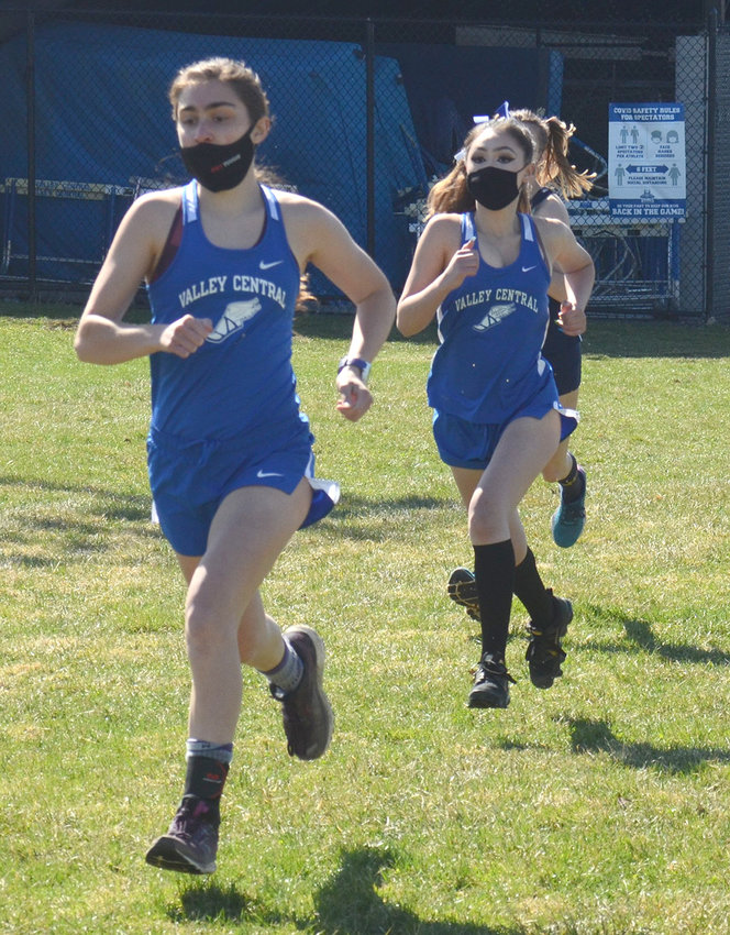 Valley Central's Kelly O'Connor and Lucy Campay run at the start of Tuesday's cross country race at Valley Central High School in Montgomery.