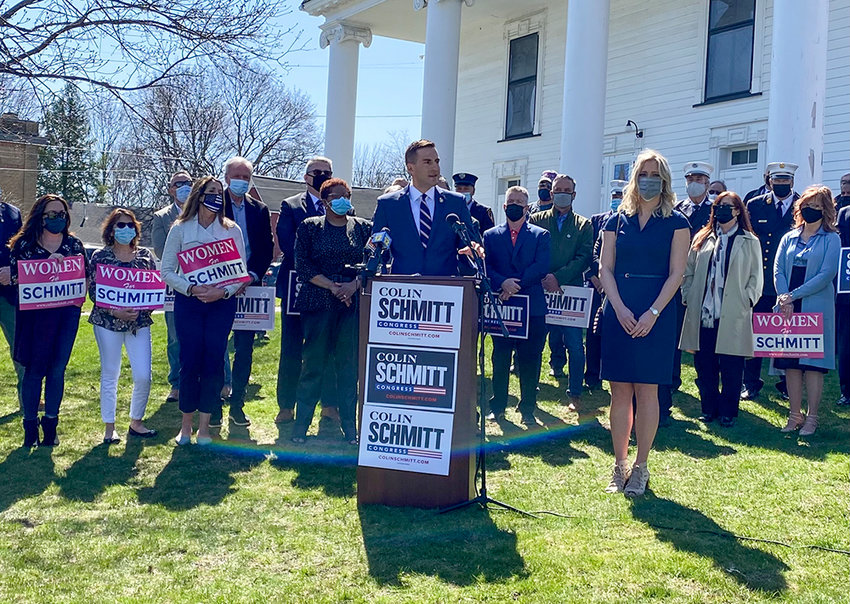 Colin Schmitt, New York State Assemblyman for the 99th District, speaks at his campaign for Congress announcement last Tuesday in front of Montgomery Village Hall. He is campaigning to represent the state's 18th Congressional District.