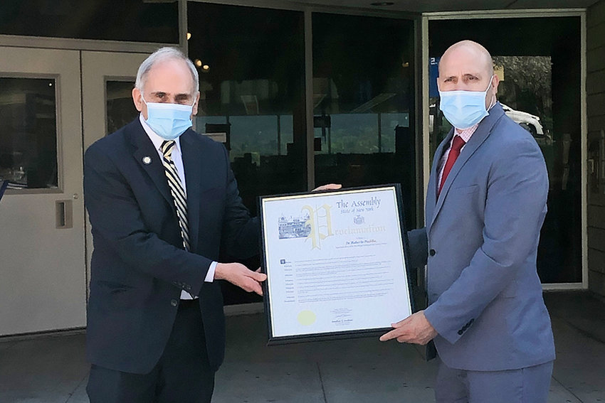 Assembly member Jonathan Jacobson presented Dr. Roberto Padilla with an Assembly proclamation to honor his leadership and mark his being named 2021 New York State Superintendent of the Year.