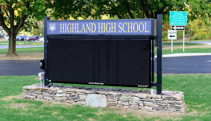 The district plans to replace the sign at the entrance to the high school.