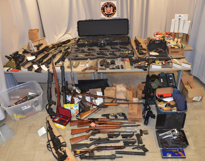 Weapons recovered from Marinelli's home in Plattekill