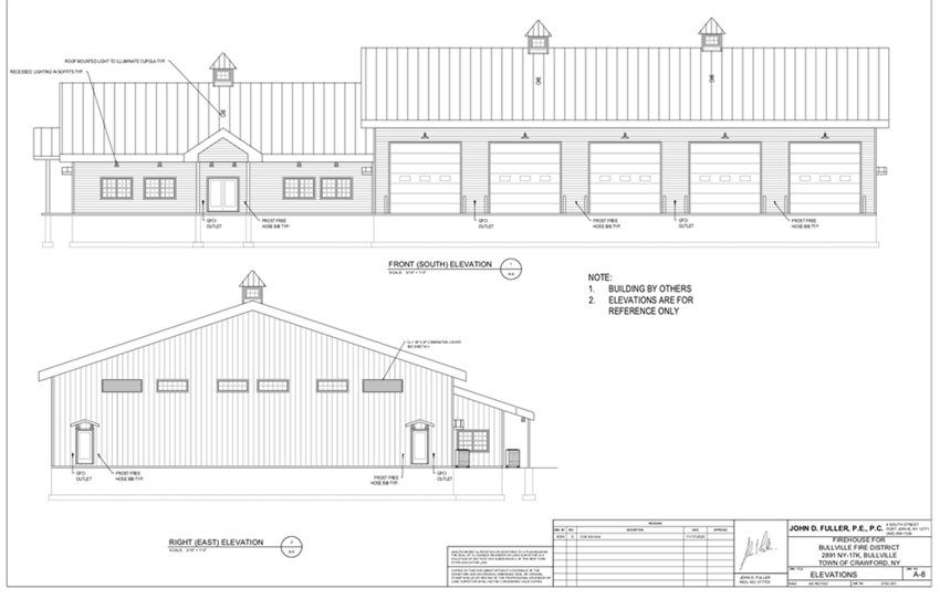 The front and right side of the proposed Bullville Firehouse.