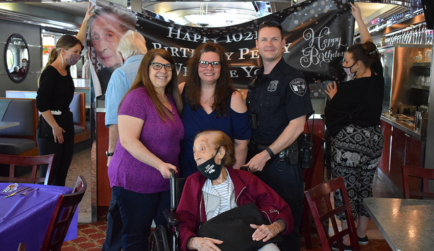 Family and friends of Peggy Bennett gathered at the Valley Diner on Route 9W, Sunday, to celebrate her 102nd birthday