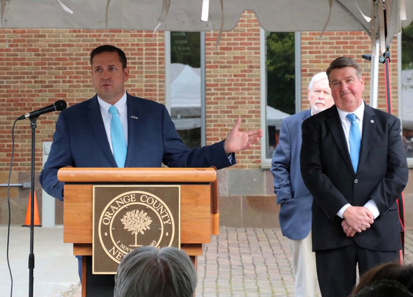 Orange County Executive Steven M. Neuhaus speaks at the 2021 Orange County Law Enforcement Memorial Service on Friday, May 7 at the Orange County Courthouse.