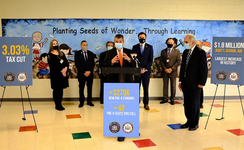 At Monday's press conference, Marlboro School Board President Frank Milazzo pointed out how critically important foundation aid and funding of universal pre-k is to the school district. He was joined by (l-r.)  Elementary School Principal Patricia Walsh, Town of Newburgh Councilman Paul Ruggiero, Town of Newburgh Supervisor Gil Piaquado, State Sen. James Skoufis, Superintendent Michael Brooks, Marlborough Supervisor Al Lanzetta and Assemblyman Jonathan Jacobson.