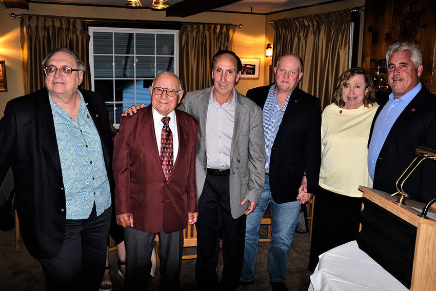 Last week the Marlboro-Milton Lions Club honored their long serving members: L-R, Ralph Walters 50 years, Joe Noto 70 years, Anthony Porpiglia 35 years, James Kent 10 years and Jean Woodward 20 years. Standing beside is outgoing club president Steve Jennison.
