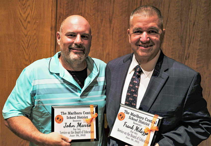 The Marlboro Administration and School Board honored two departing members for their service, John Marro (L) and Frank Milazzo.