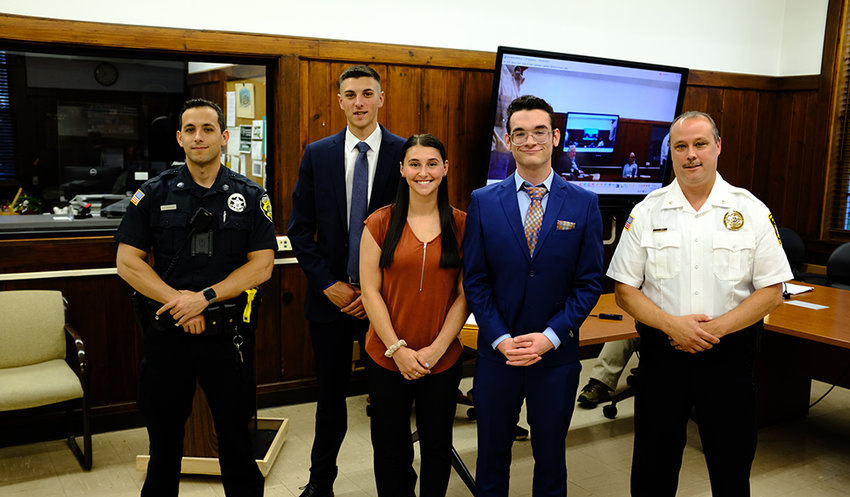 Lloyd Police Chief James Janso introduced his new hires to the Town Board. L-R Jesse Assenza, Jacob Nielson, Ashley R. Votta, Michael A. Janeiro and Chief James Janso.