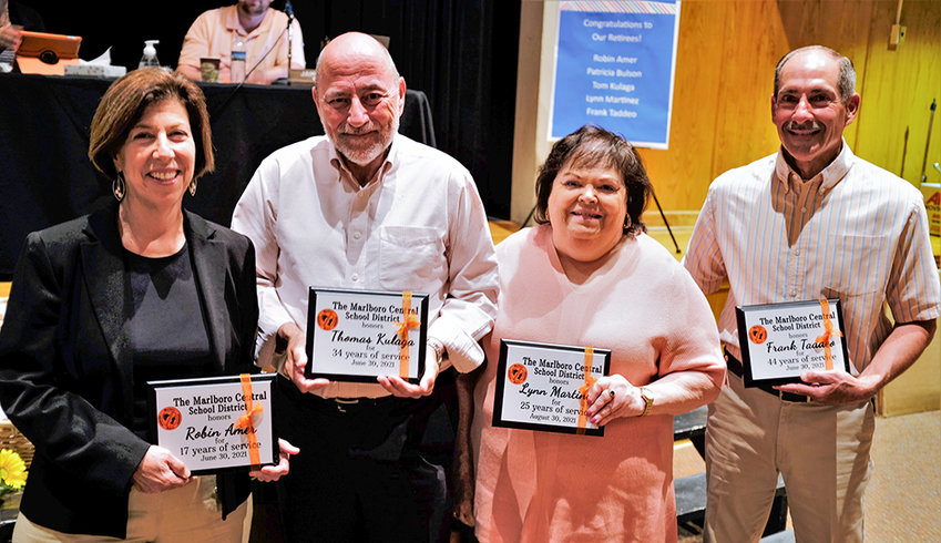 The Marlboro School District honored several individuals who are retiring at the end of June. (l. – r.) Robin Amer, Thomas Kulaga, Lynn Martinez and Frank Taddeo.