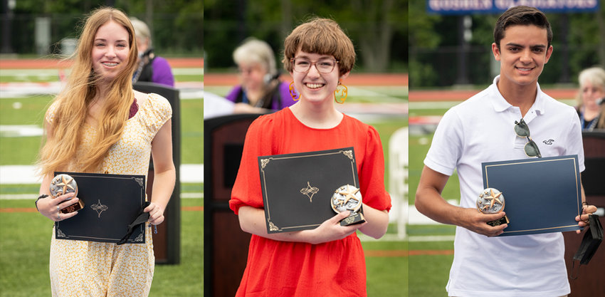 Haley Sullivan of Pine Bush High School, Georgia Camacho of Pine Bush High School, Daniel Teutul of Valley Central High School