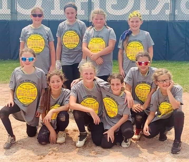 The Pine Bush minors softball team is shown after reaching the New York State championship game on Sunday at Brighton Little League.
