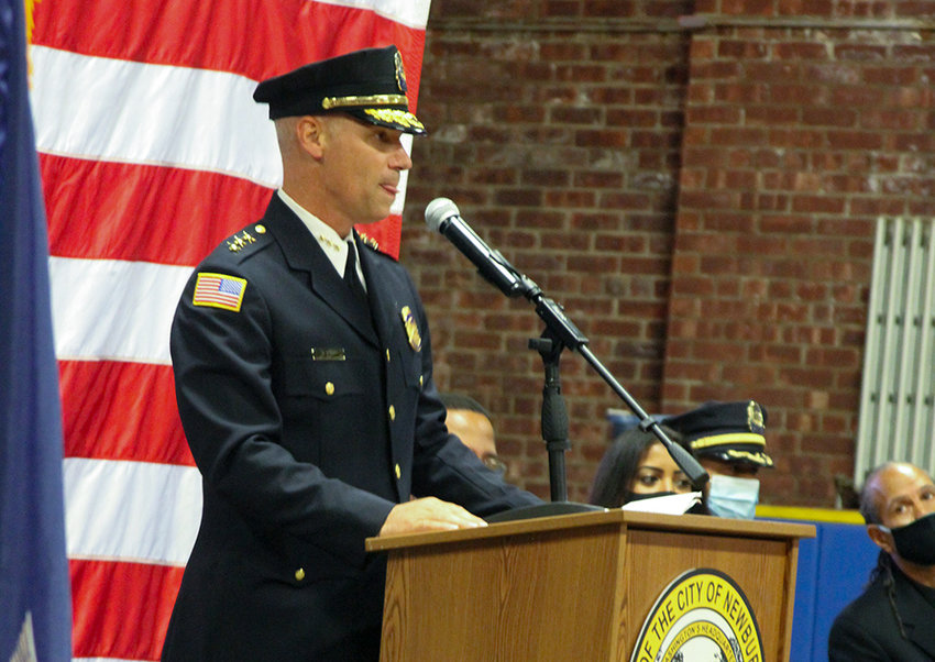 Police Chief Anthony Geraci addresses the gathering Monday, moments after being sworn in.